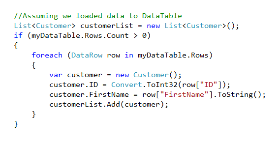 How to Convert DataTable to Collection of Custom Class object