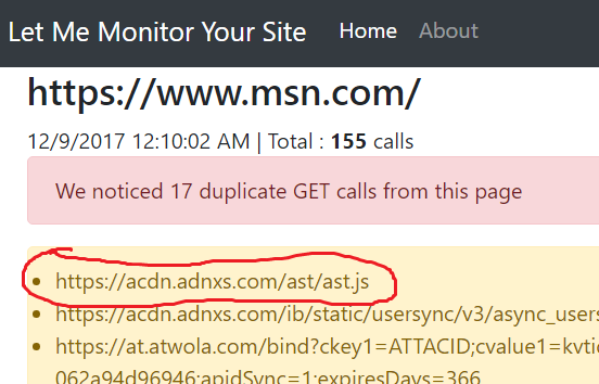 Tracking slow network calls on msn com